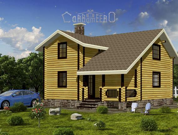 Дом из оцилиндрованного бревна с мансардой О-112